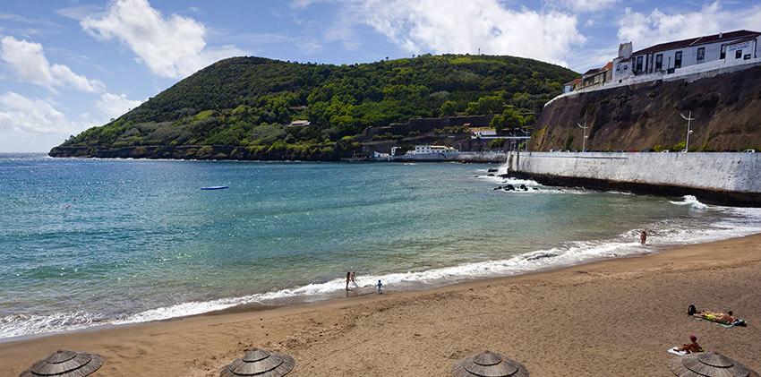 Prainha beach with Monte Brasil on the background
